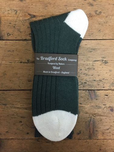 Men's Wool Socks - Green and White - Machine Washable.